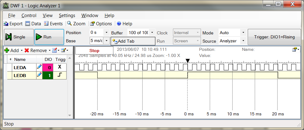 Screen capture for 20 ms delay (using Digilent WaveForms on Microsoft Windows 7).